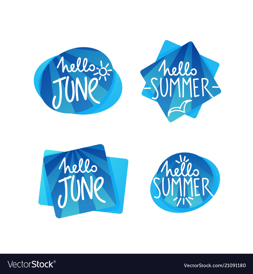 Hello summer and hello june doodle handdrawn