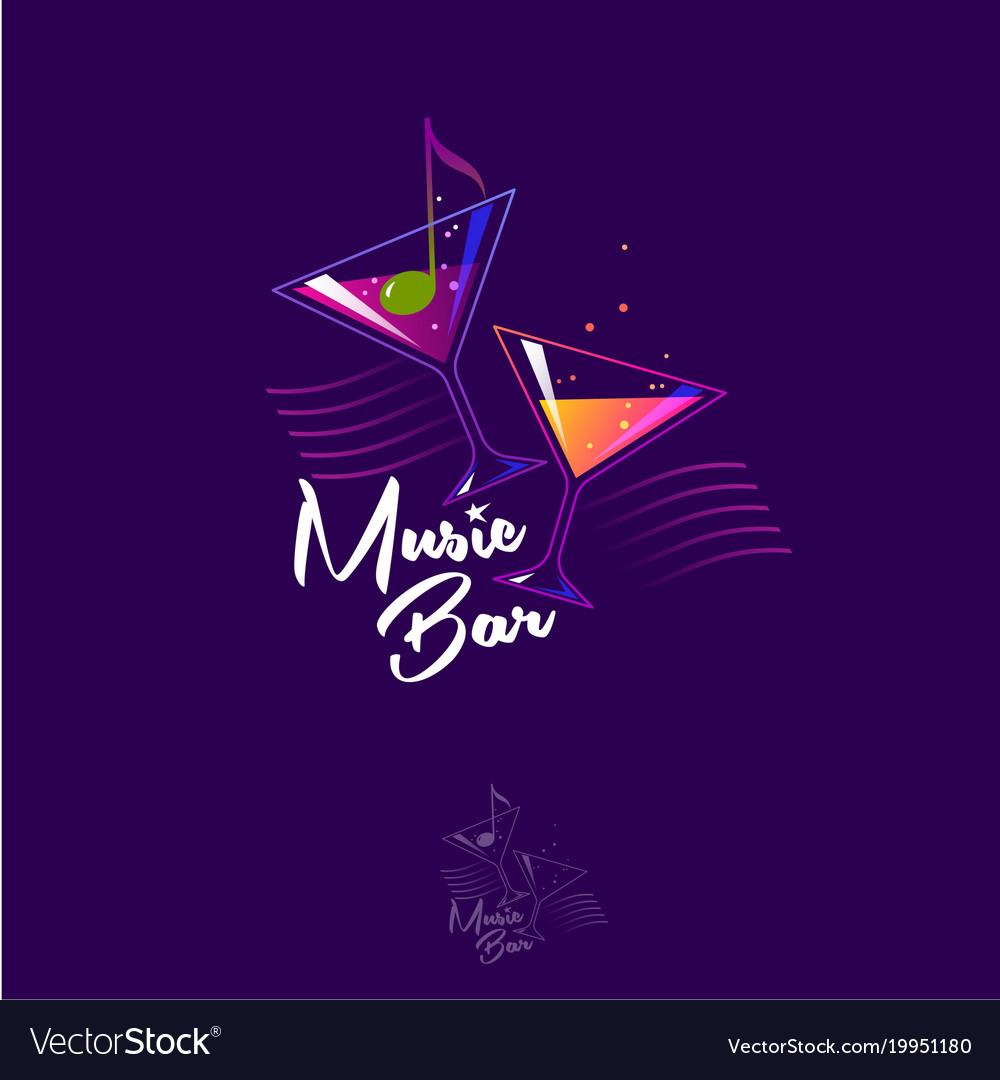 Logo Music Bar Olive Note Cocktails Vector Image