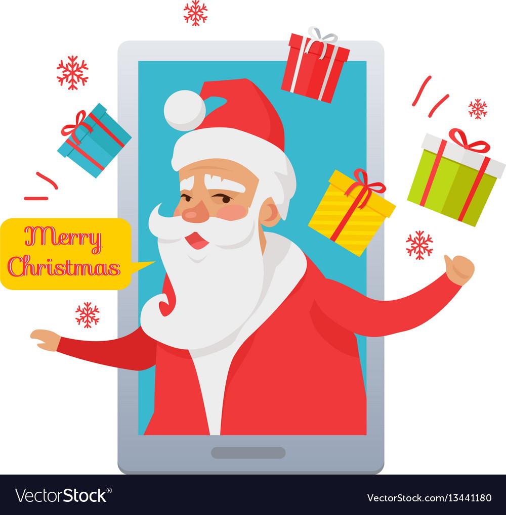 Merry christmas santa claus inside cellphone