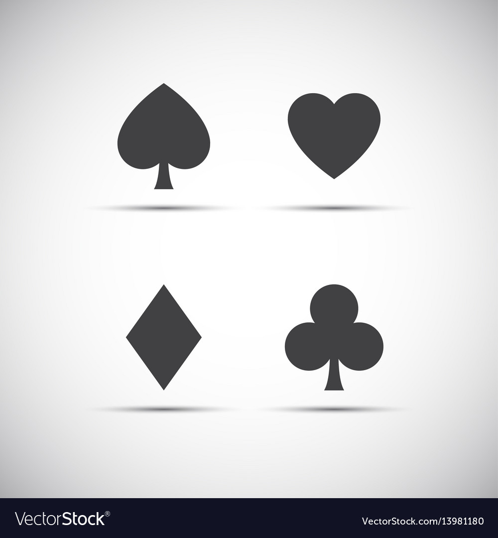 Playing card symbols isolated on white background