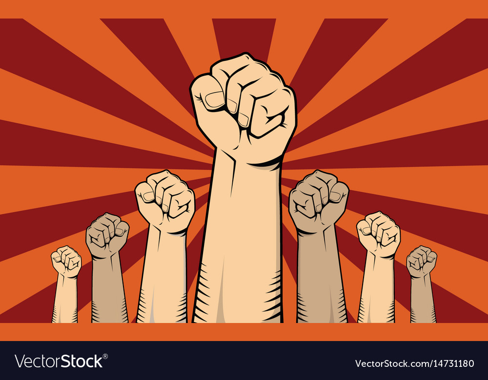 Protest concept with a lot of hand vector image
