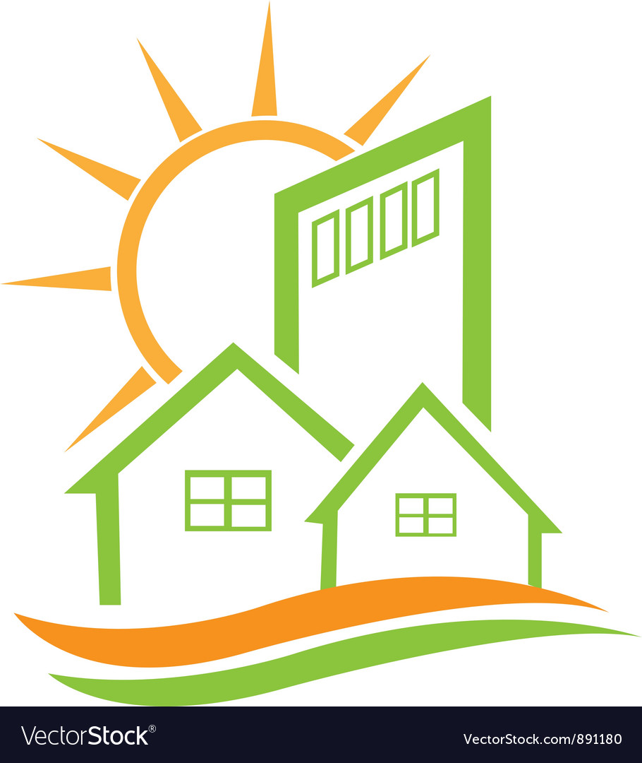 Residential green house and sun vector