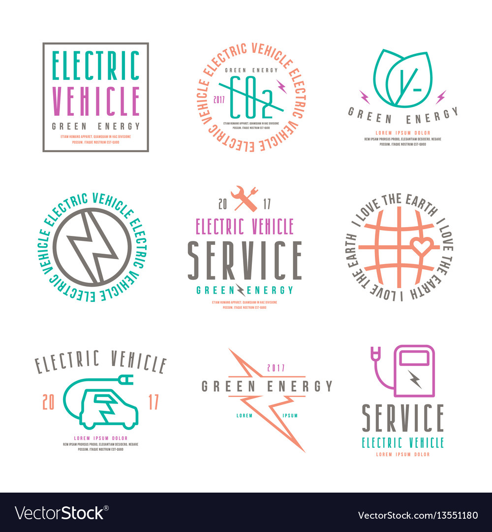 Set of electric car labels