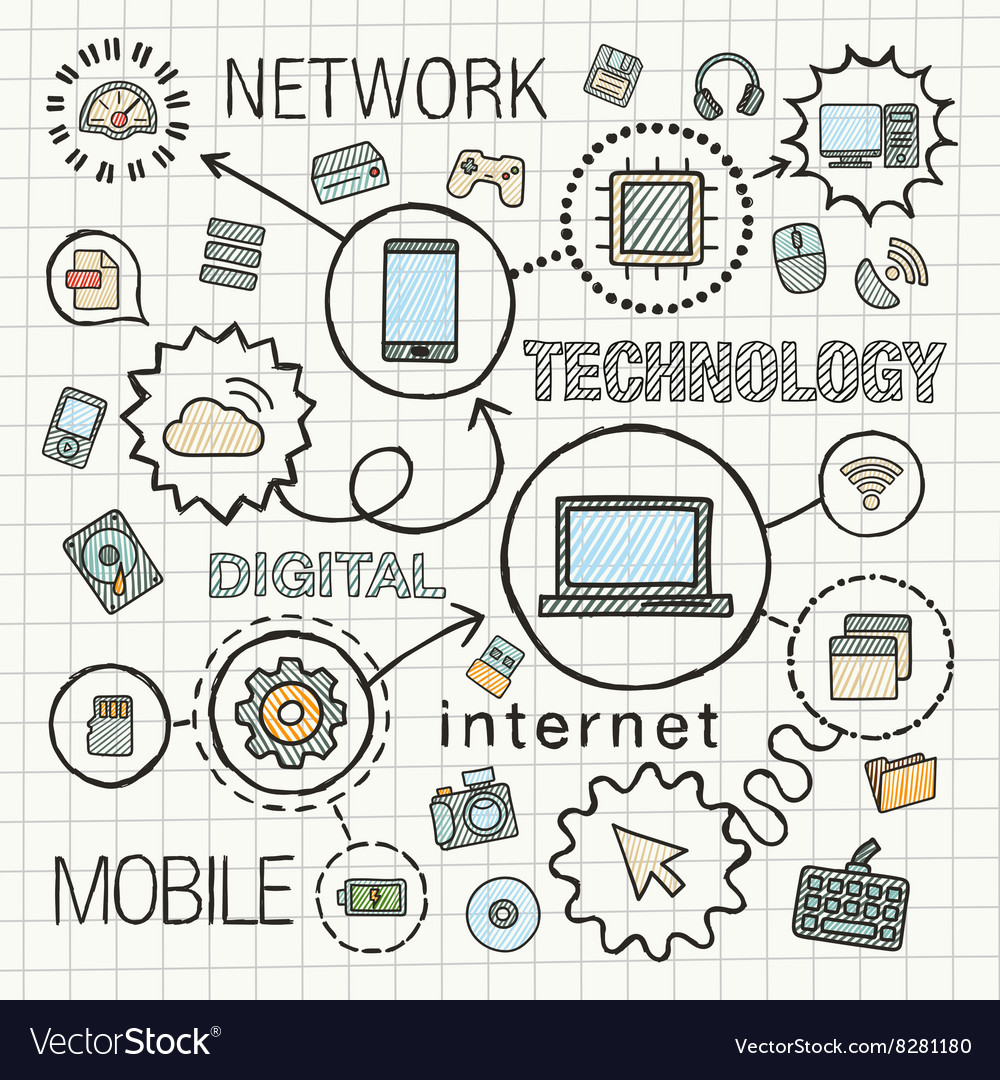 Technology hand draw integrated icons set
