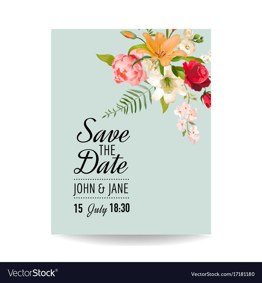 Wedding card with watercolor lily flowers