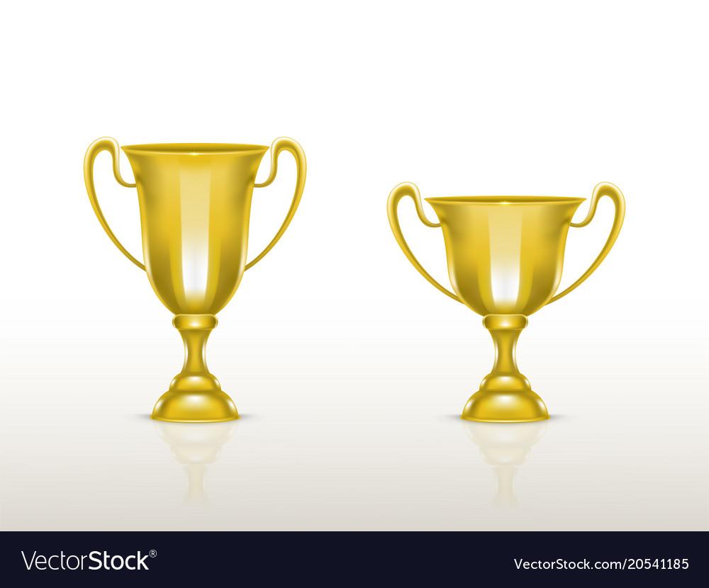 3d realistic cup golden trophy goblet