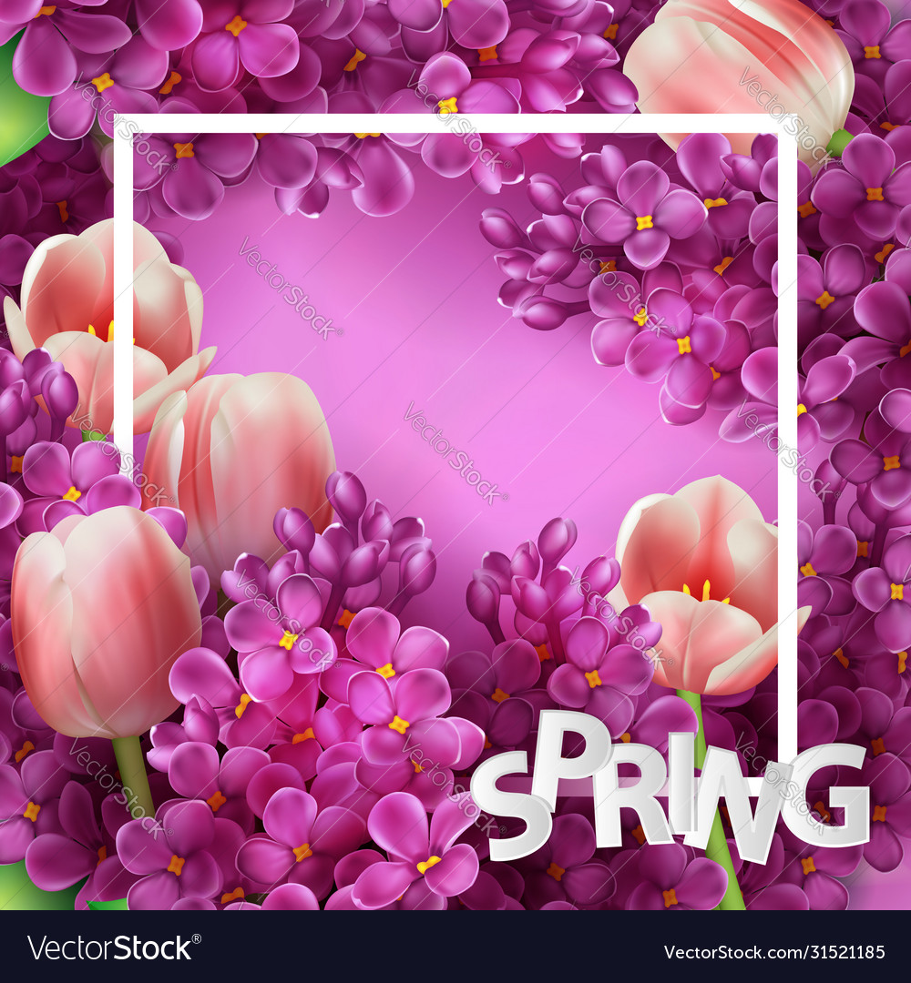 Bright lilac flowers and tulips decorative frame