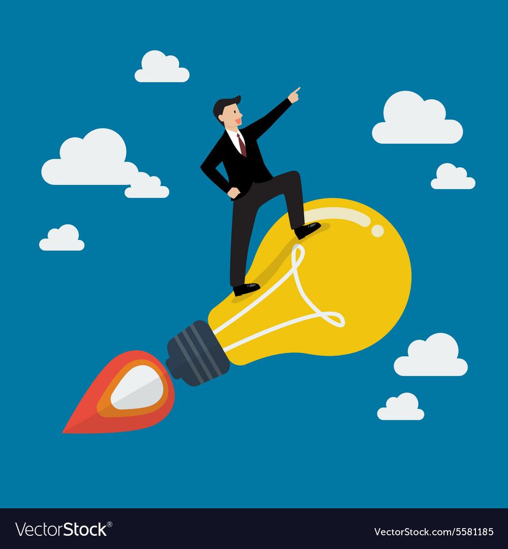 Businessman on a moving lightbulb idea rocket
