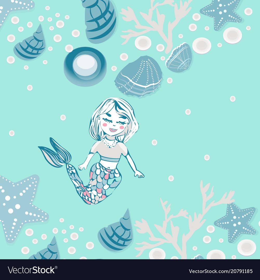 Childish print cute mermaid seashells marine