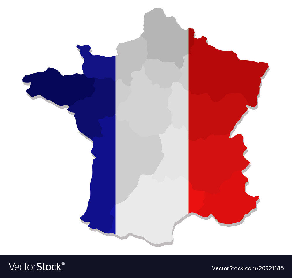 France Map Flag.France Map With Flag Royalty Free Vector Image