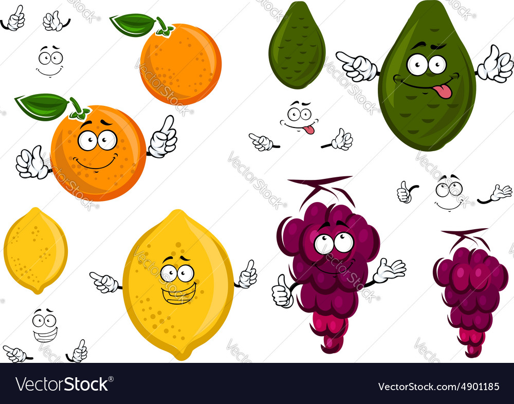 Funny cartoon isolated fruit characters