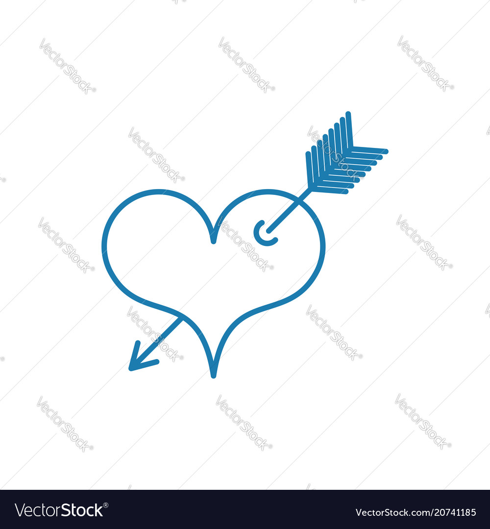 Heart With Arrow Tattoo Symbol Of Love Linear Vector Image