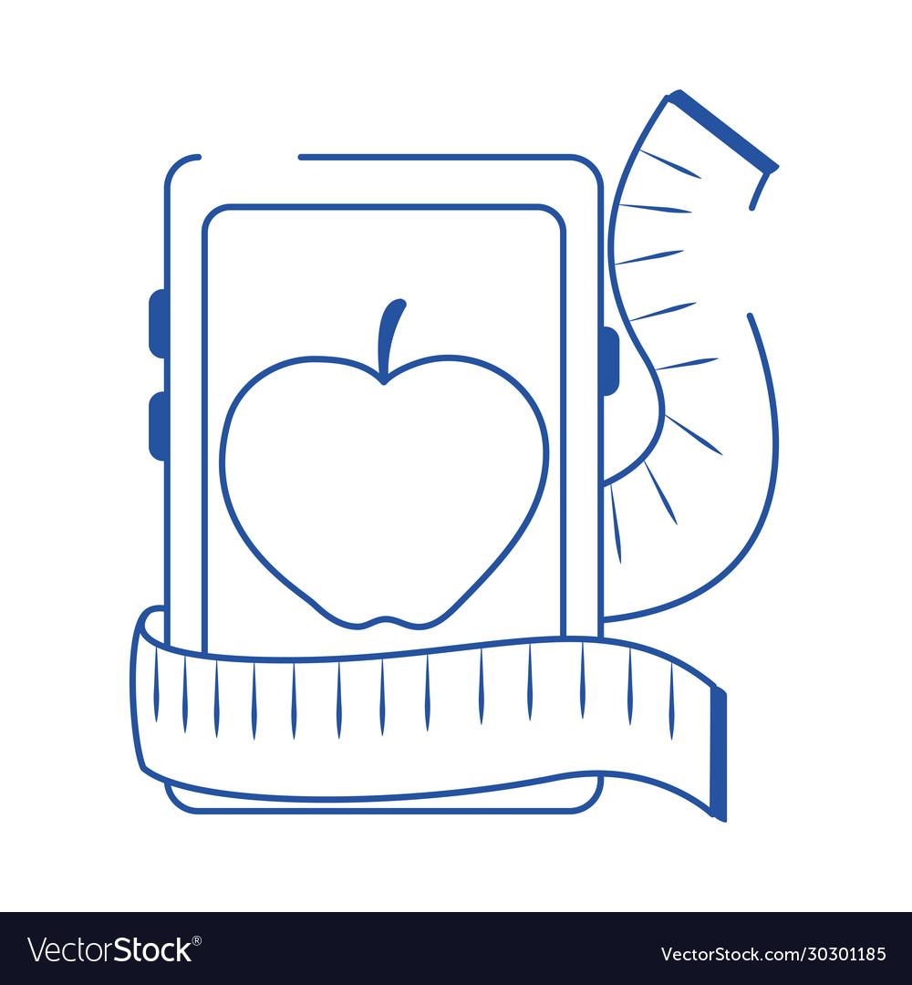 Online Doctor Smartphone Nutrition Care Blue Line Vector Image