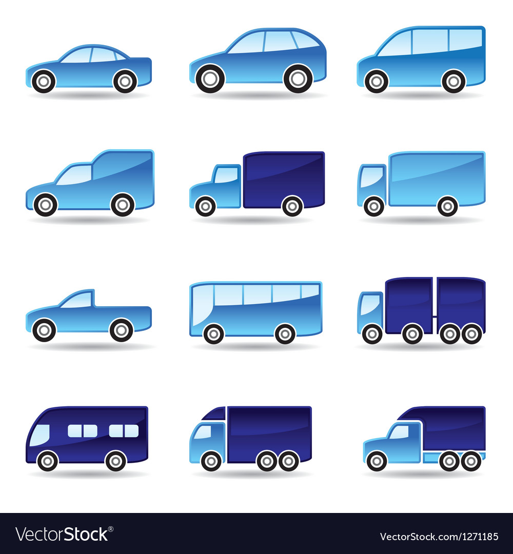 Road transport icon set vector image