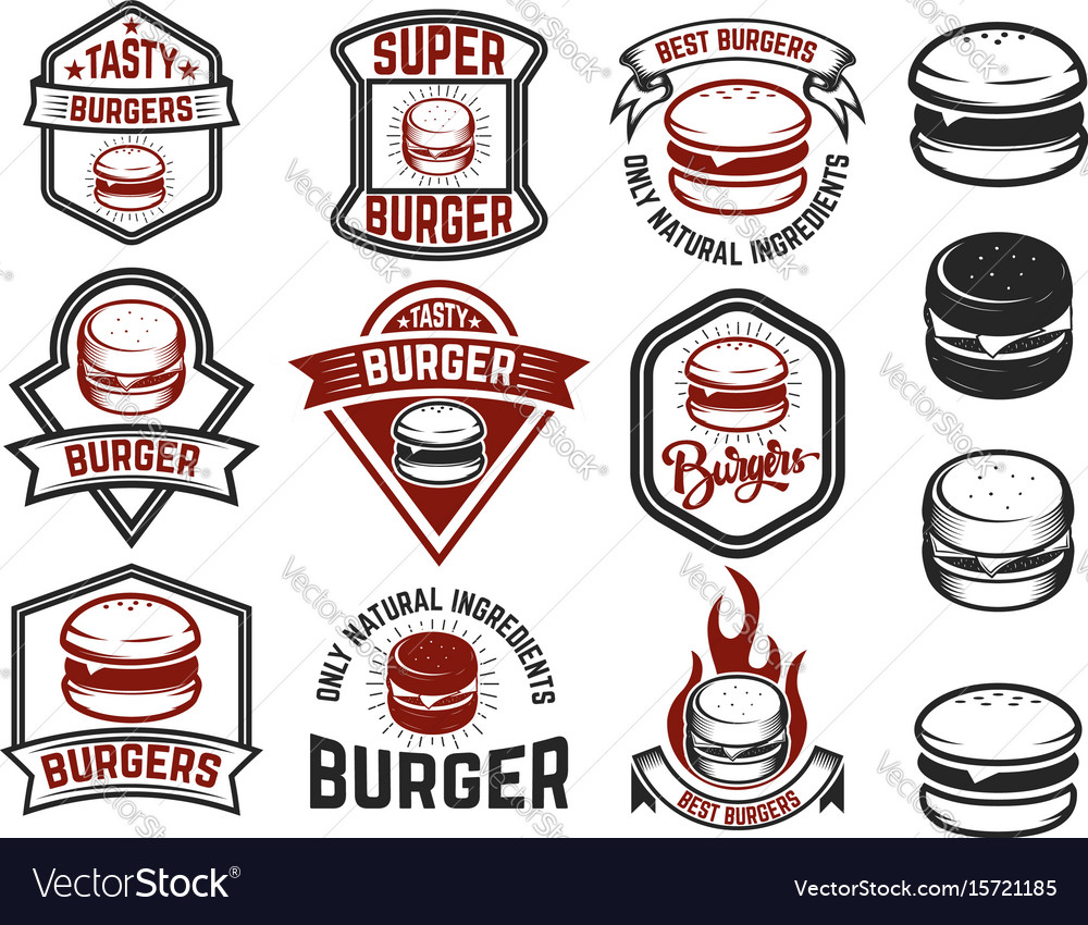 Set of burger labels design elements for logo vector image