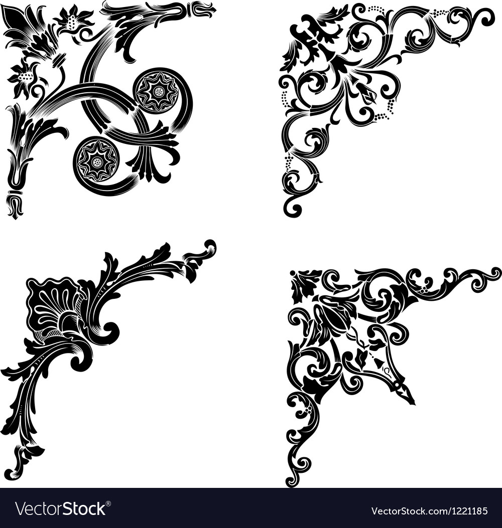 Set Of Four One Color Corners Elements Of Design vector image