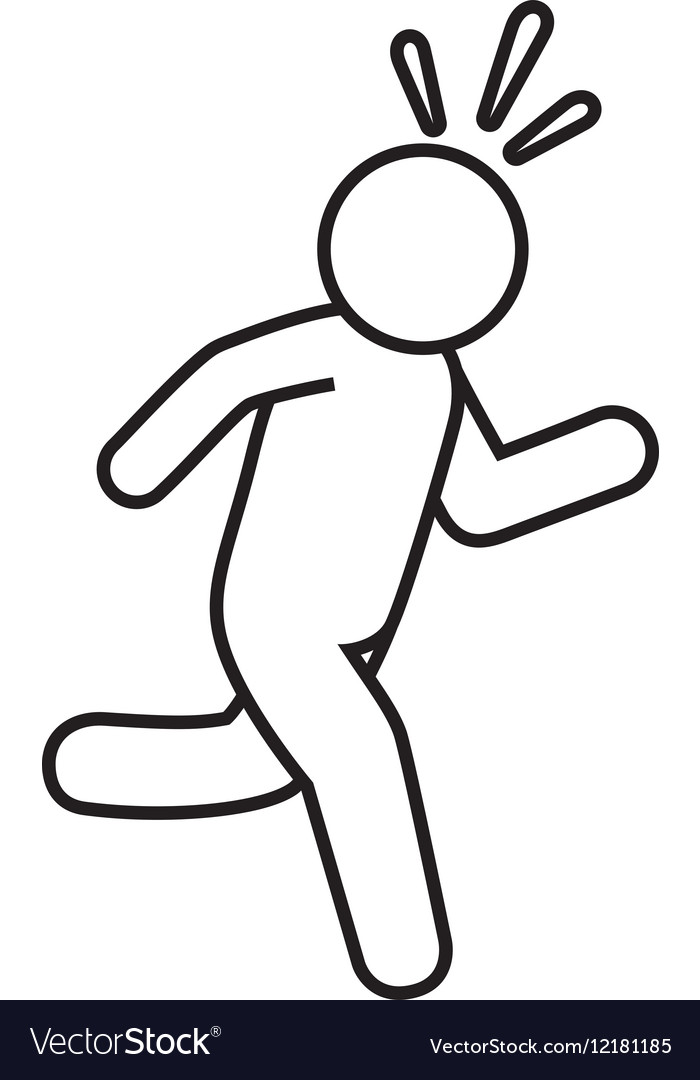 Silhouette human running isolated icon vector image