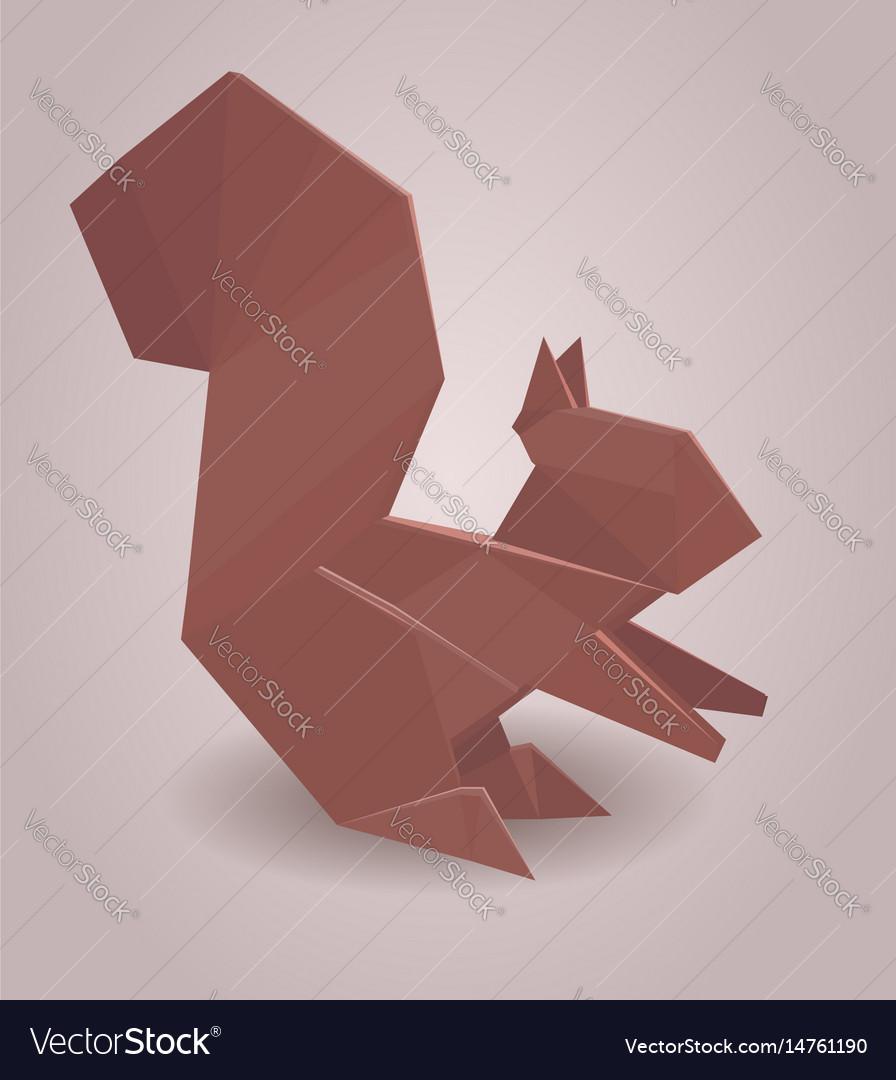 A Paper Origami Squirrel Vector Image