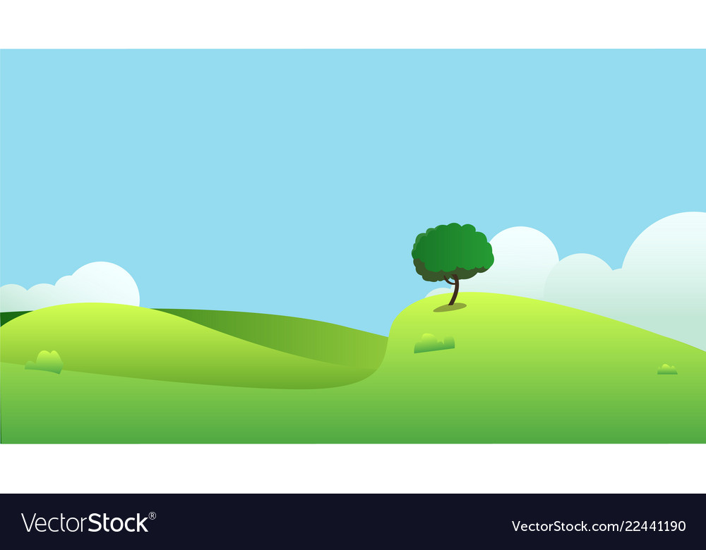Beautiful fields landscape with a hills
