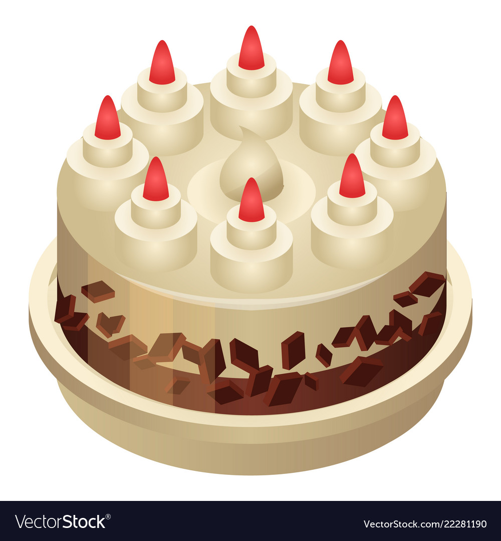 Birthday cake icon isometric style