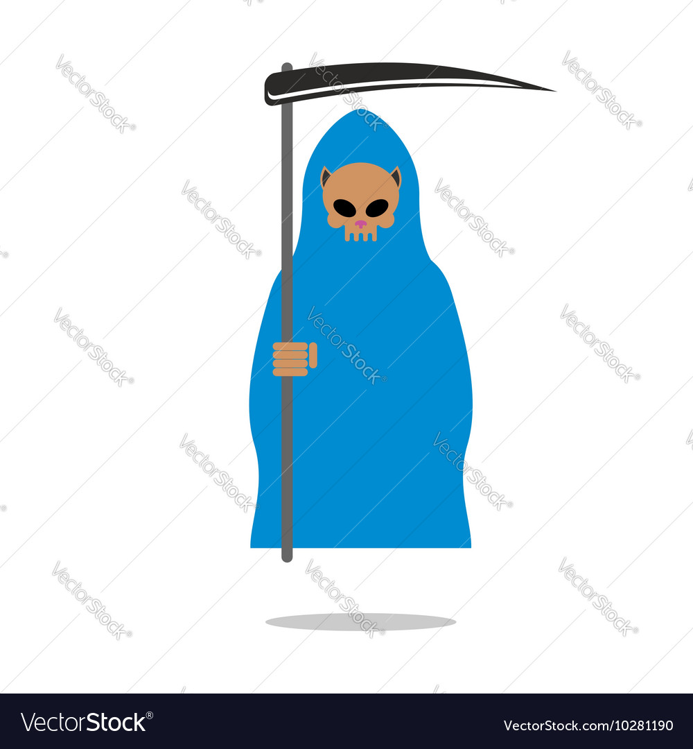 Death skull cat in blue cloak Grim Reaper pets
