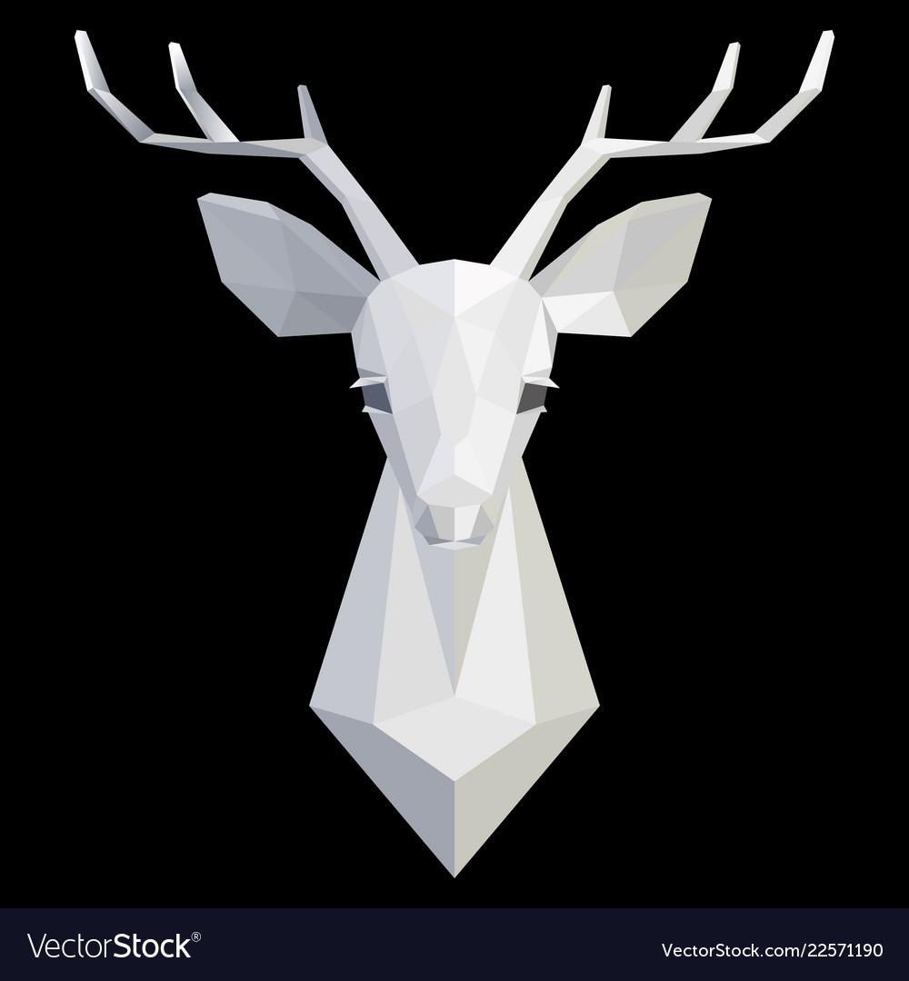 Deer head polygonal white model