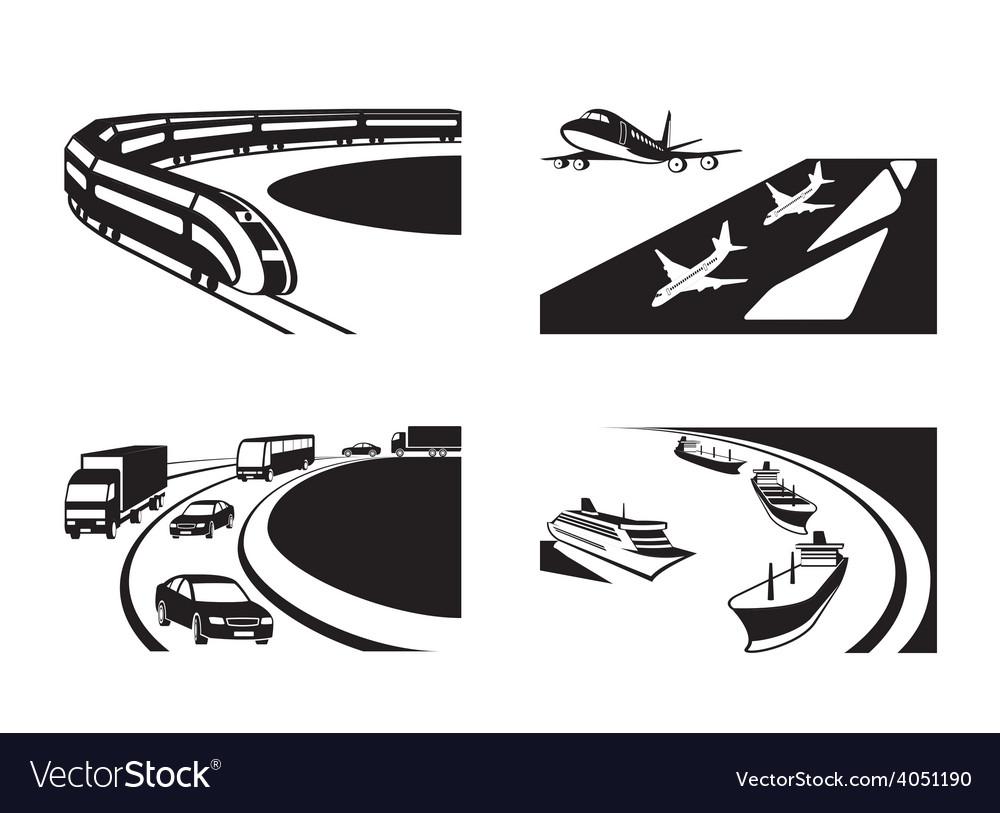Different transportation scenes vector image