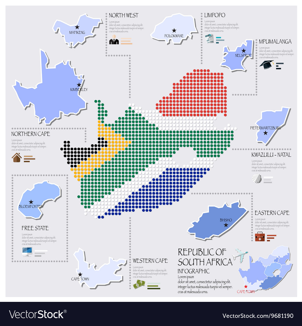 Dot And Flag Map Of South Africa Infographic