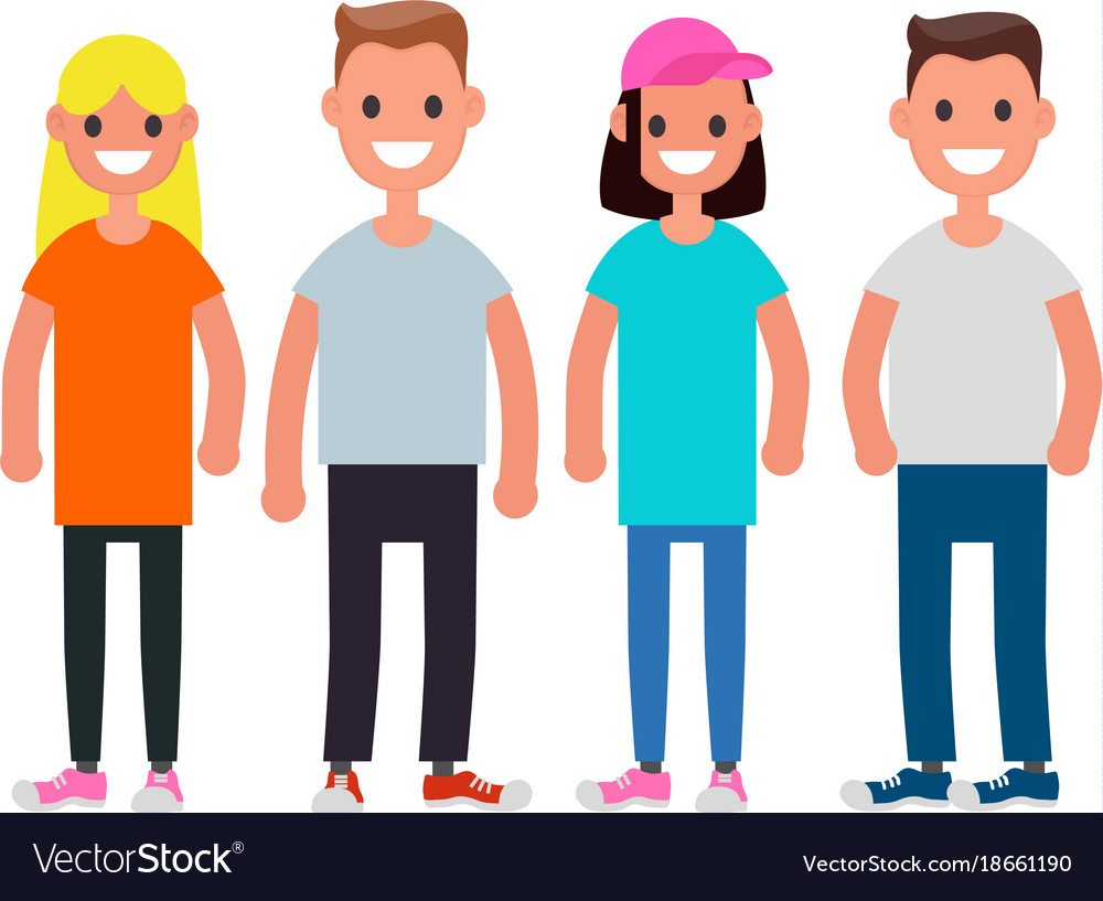 Flat design characters team modern society