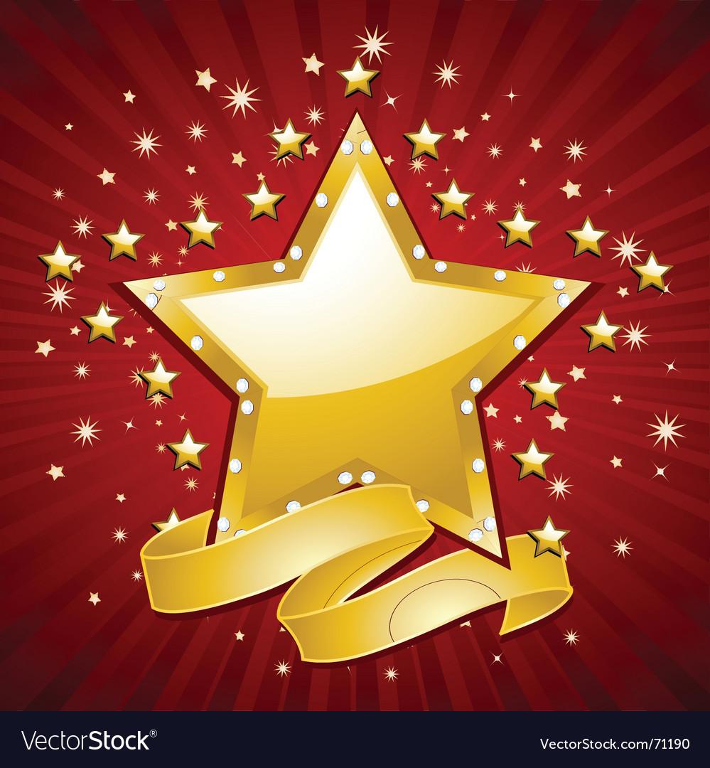 Gold superstar background vector image