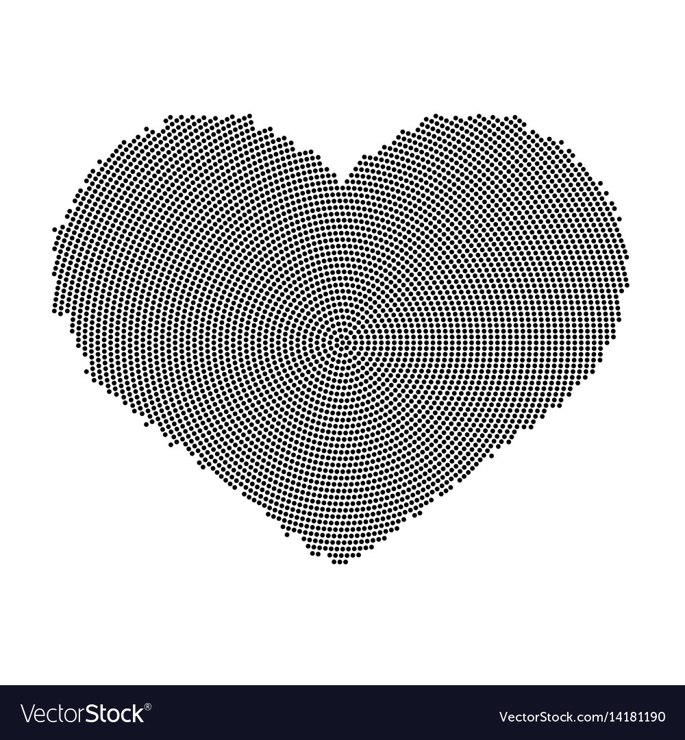 Heart symbol with a dot pattern icon