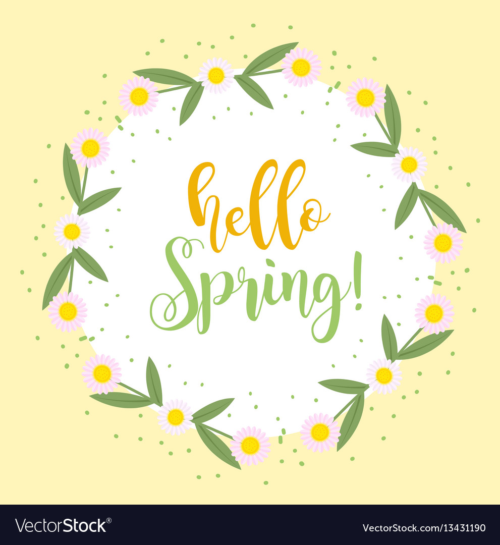 Hello spring floral frame for text isolated on