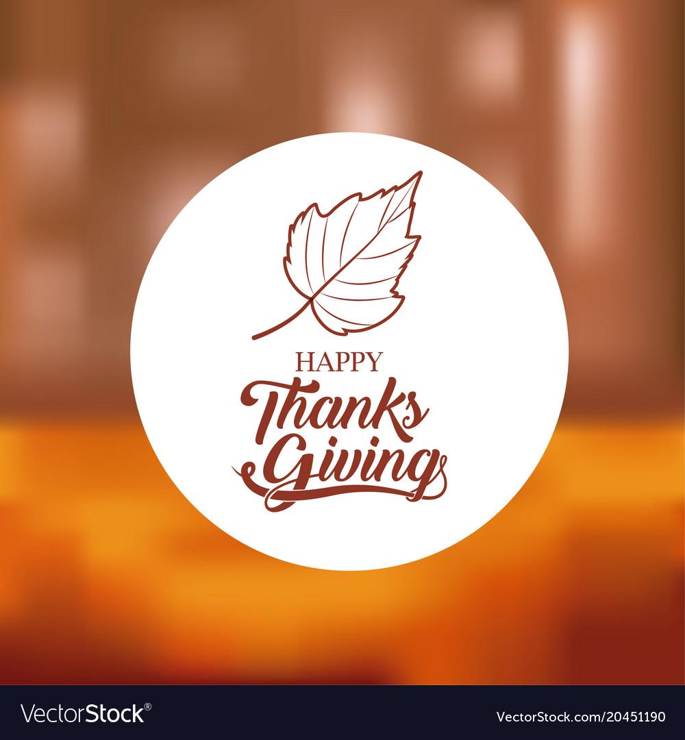 Leaf inside circle of thanks given design