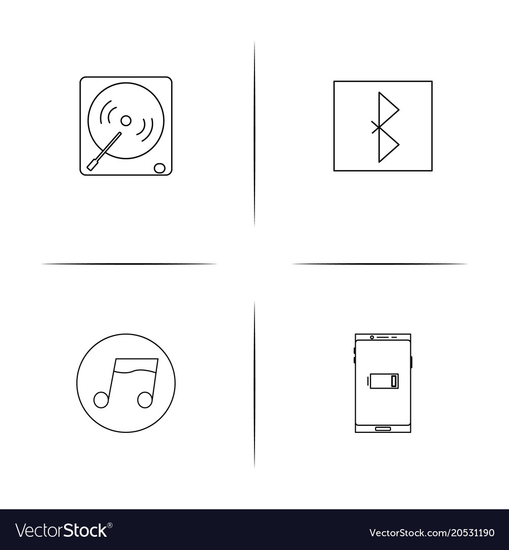 Music simple linear icons set outlined icons