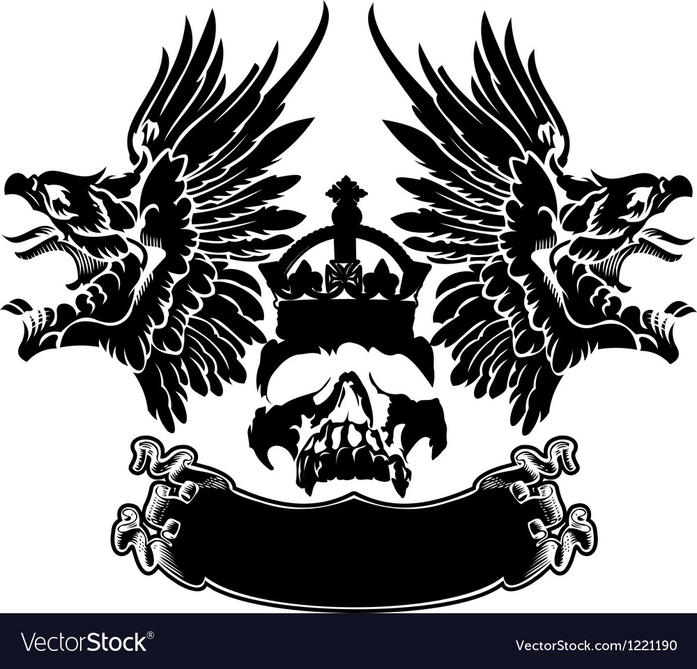 One Color Eagle Wings Skull Symbol Emblem vector image
