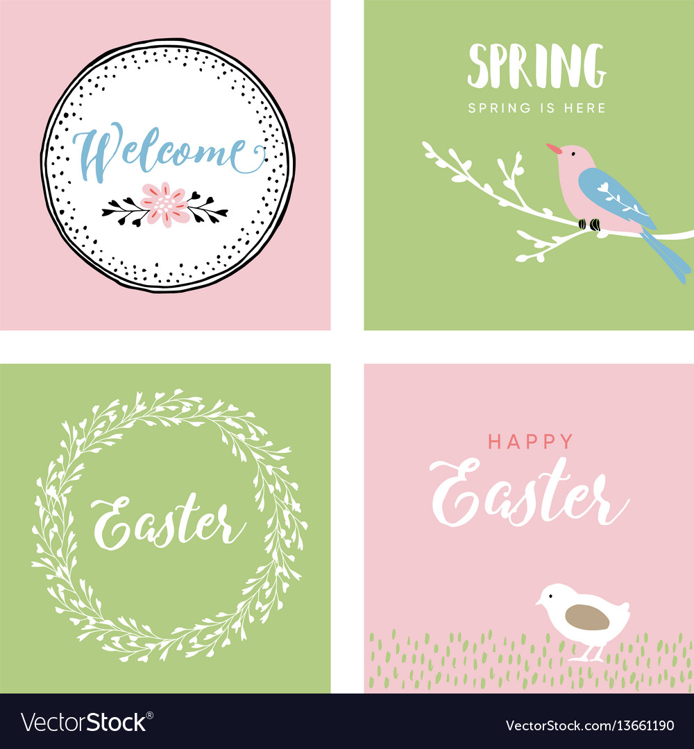 Set Of Hand Drawn Easter Greeting Cards Royalty Free Vector