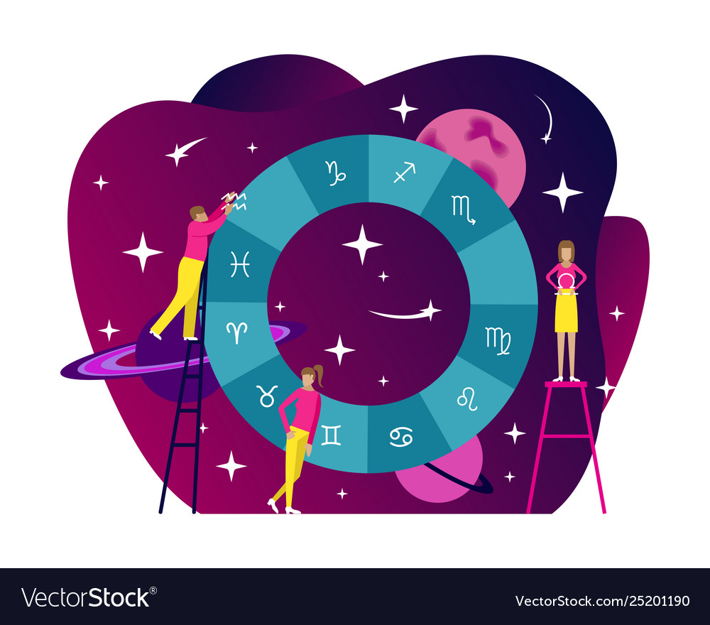 Small people flat astrology natal chart Royalty Free Vector