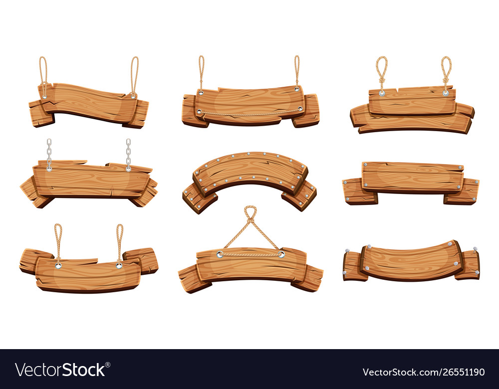 Wooden banners blank signboards with chains ropes