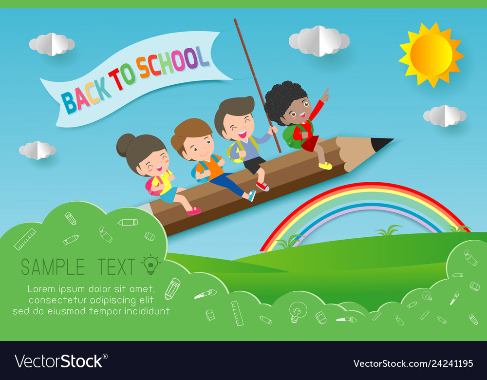 Back to school children flying on pencil