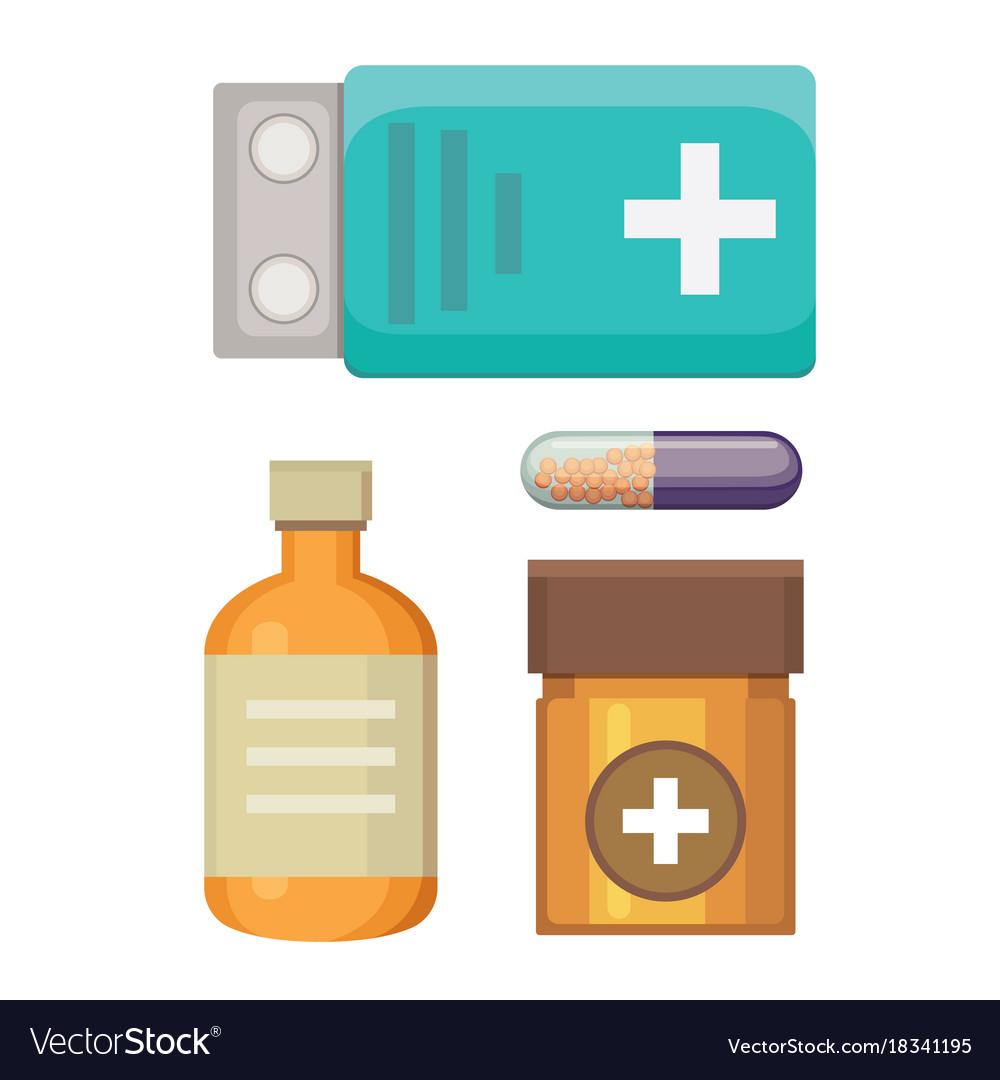 Cartoon medicaments different medical pills and