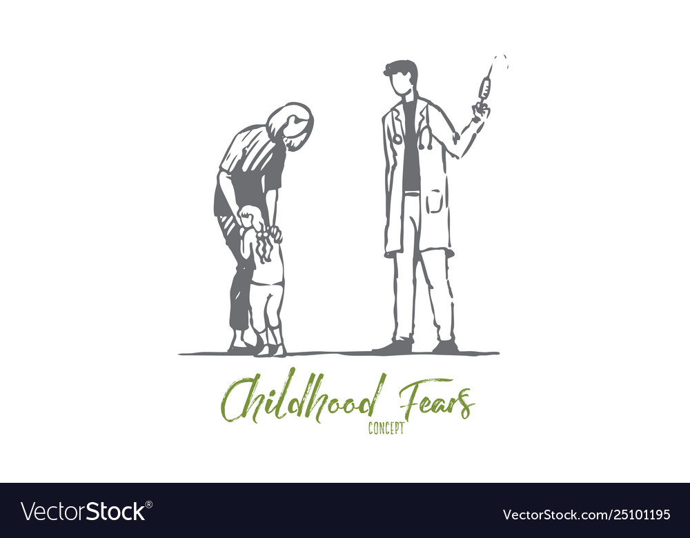 Child doctor injection fear syringe concept