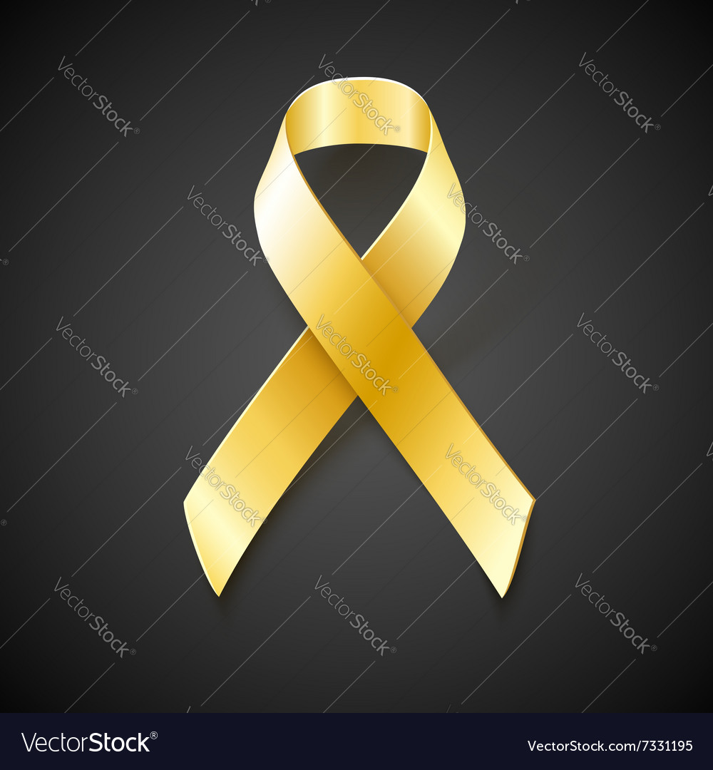 Childhood Cancer Awareness gold ribbon vector image