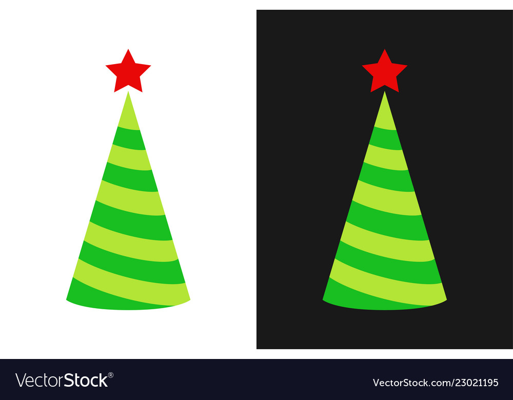Christmas tree icon in form holiday cap