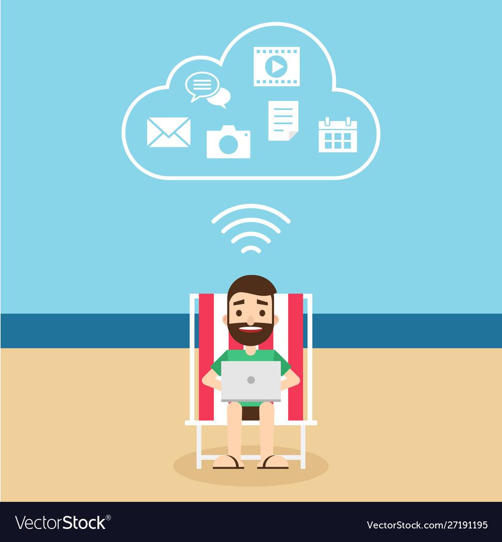 Cloud computing technology connection concept