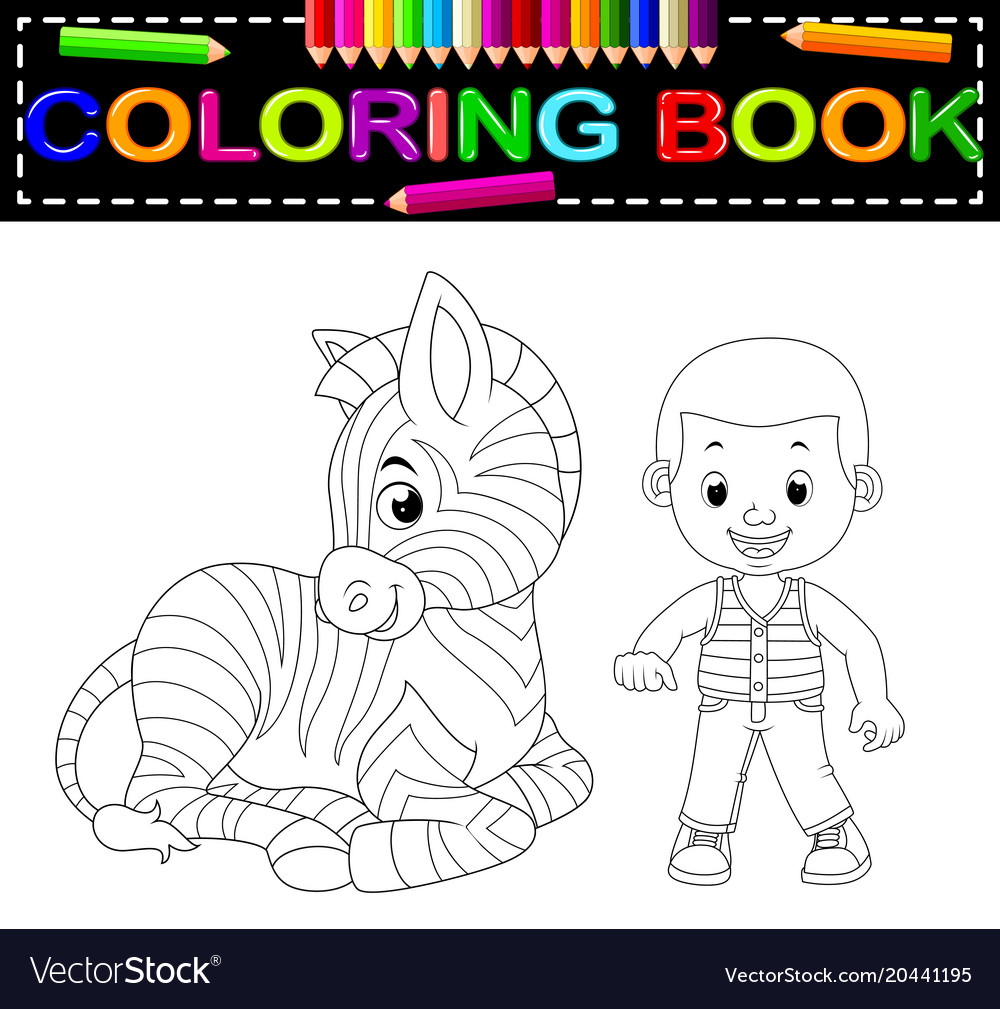 Cute boy and zebra coloring book Royalty Free Vector Image