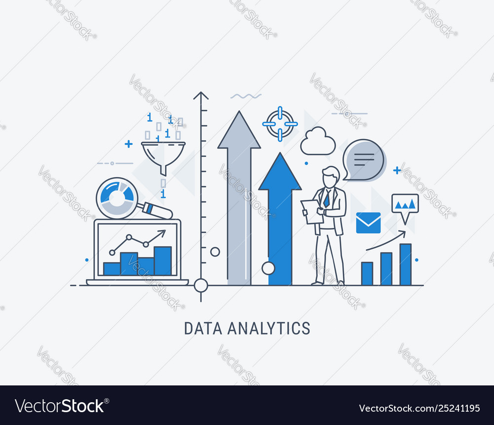 Data analytics website banner thin line