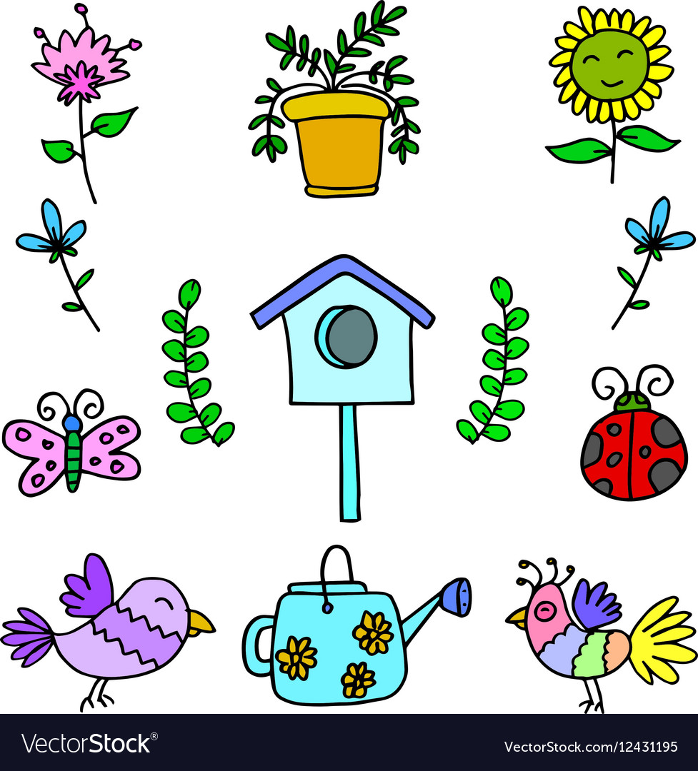 Doodle colorful spring items Royalty Free Vector Image