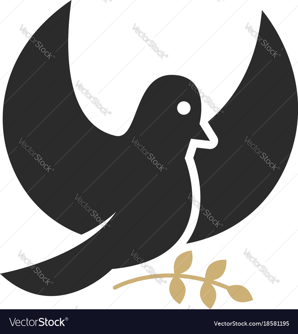Dove with olive branch religious symbol