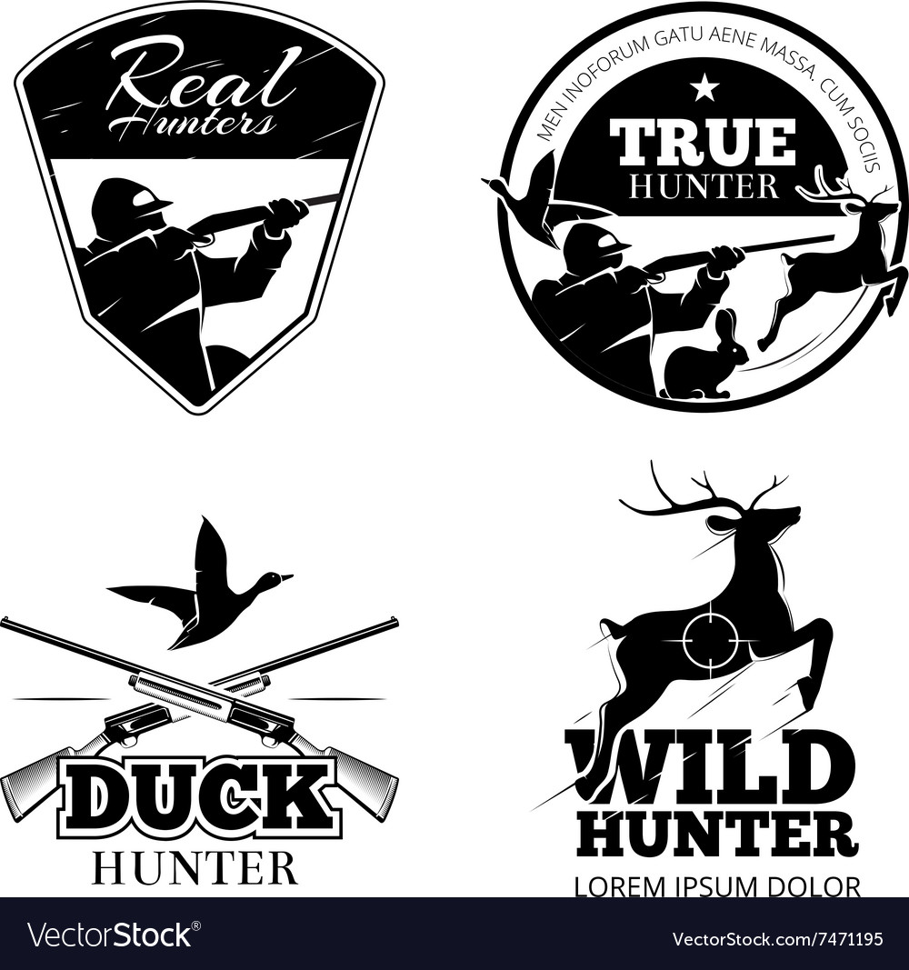 Hunting club labels and emblems set vector image