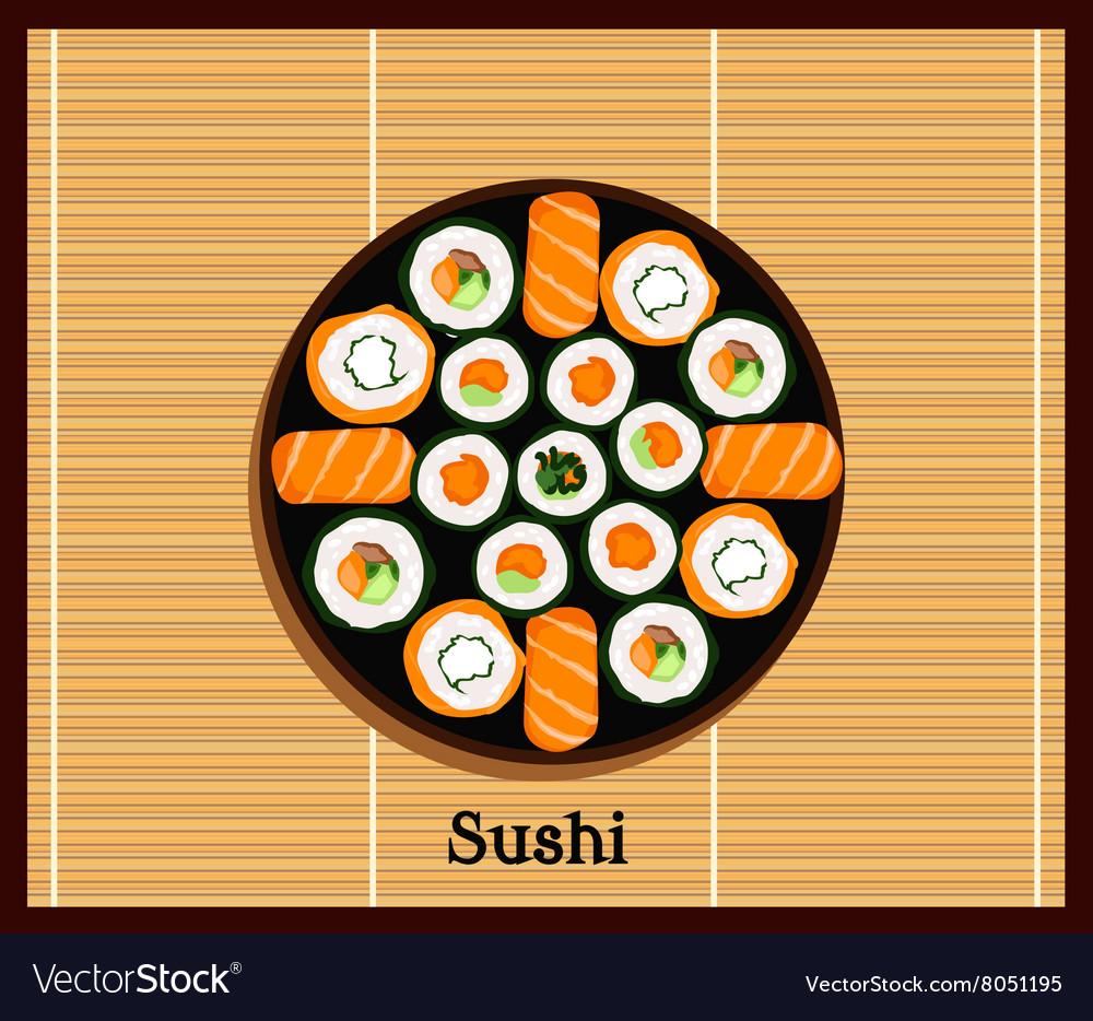 Japanese Food Sushi Design Flat